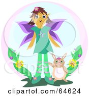 Royalty Free RF Clipart Illustration Of A Female Fairy With A Rabbit by bpearth