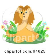 Friendly Lion Sitting In Grass And Flowers