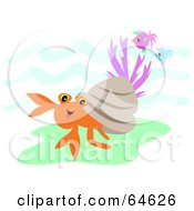 Royalty Free RF Clipart Illustration Of A Hermit Crab And Fish Underwater by bpearth