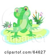 Royalty Free RF Clipart Illustration Of A Happy Green Frog Resting On A Pond Island