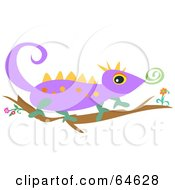 Royalty Free RF Clipart Illustration Of A Purple Lizard Walking On A Branch by bpearth