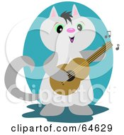 Royalty Free RF Clipart Illustration Of A Gray Guitarist Cat Playing A Song