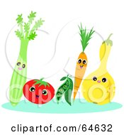 Royalty Free RF Clipart Illustration Of A Row Of Veggies Smiling by bpearth