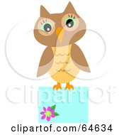 Royalty Free RF Clipart Illustration Of A Brown Owl Perched On A Blank Blue Sign by bpearth