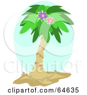 Royalty Free RF Clipart Illustration Of A Tropical Palm Tree With A Purple Hibiscus Flower And Bones by bpearth