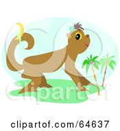 Royalty Free RF Clipart Illustration Of A Tropical Monkey With A Banana On His Tail