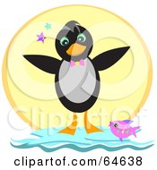 Royalty Free RF Clipart Illustration Of A Pink Fish Leaping By A Happy Penguin In Front Of The Sun by bpearth