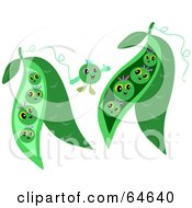 Royalty Free RF Clipart Illustration Of Happy Green Peas by bpearth