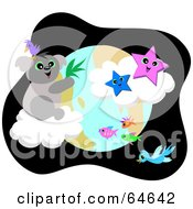 Royalty Free RF Clipart Illustration Of A Koala And Bird On A Cloud Above The Earth With Stars Birds And Fish by bpearth