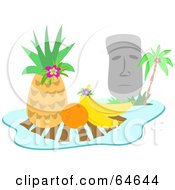 Royalty Free RF Clipart Illustration Of A Moai Statue With Tropical Fruits by bpearth