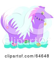 Royalty Free RF Clipart Illustration Of A Purple Sea Dragon And Fish by bpearth