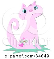 Royalty Free RF Clipart Illustration Of A Pretty Pink Cat With A Heart Tattoo by bpearth