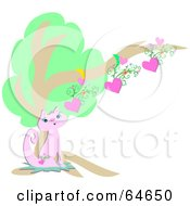 Royalty Free RF Clipart Illustration Of A Pretty Pink Cat With A Heart Tattoo Sitting Under A Tree by bpearth