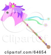 Royalty Free RF Clipart Illustration Of A Pink Stick Pony With Ribbons by bpearth