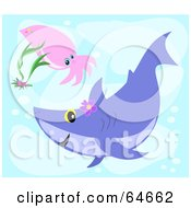 Royalty Free RF Clipart Illustration Of A Squid And Shark Swimming In The Blue Sea