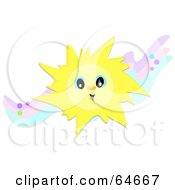 Royalty Free RF Clipart Illustration Of A Happy Sun On Colorful Waves by bpearth