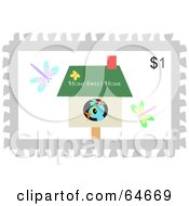 Royalty Free RF Clipart Illustration Of A Bird In A House On A Postage Stamp Design by bpearth