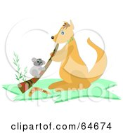 Royalty Free RF Clipart Illustration Of A Koala Climbing A Didgeridoo Being Played By A Kangaroo by bpearth