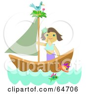 Royalty Free RF Clipart Illustration Of A Happy Woman Sailing