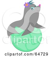 Royalty Free RF Clipart Illustration Of A Gray Seal Wearing Flowers And Sitting On A Ball by bpearth