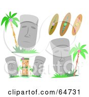Royalty Free RF Clipart Illustration Of A Digital Collage Of Moai And Surfboards by bpearth