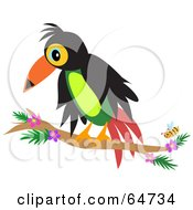 Royalty Free RF Clipart Illustration Of A Perched Toucan By A Bee by bpearth