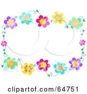 Royalty Free RF Clipart Illustration Of A Colorfully Flowering Vine Border Frame Version 2