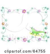 Lizard And Flower Border Frame