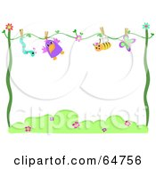 Royalty Free RF Clipart Illustration Of A Worm Bird Bee And Butterfly Drying On A Line With Text Space by bpearth