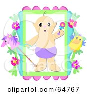 Royalty Free RF Clipart Illustration Of A Baby Boy In A Diaper Holding A Rattle In A Frame With A Stick Horse And Flowers by bpearth