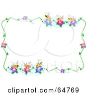 Royalty Free RF Clipart Illustration Of A Bee And Flower Border Frame