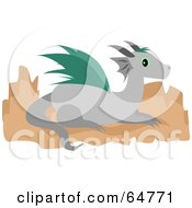 Royalty Free RF Clipart Illustration Of A Gray And Teal Dragon Resting On Rocks by bpearth