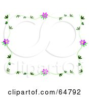 Border Frame Of A Vine With Purple Flowers