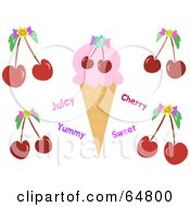 Royalty Free RF Clipart Illustration Of A Cherry Flavored Ice Cream Cone With Text And Cherries by bpearth