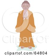 Royalty Free RF Clipart Illustration Of A Praying Buddha by bpearth
