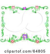 Colorfully Flowering Vine Border Frame Version 6