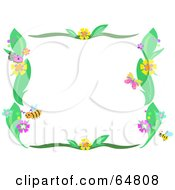 Bee Flower And Plant Border Frame