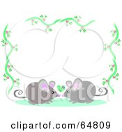 Floral Vine Border With Smooching Mice
