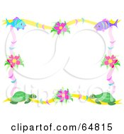 Border Frame Of Fish Flowers And Turtles