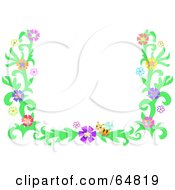 Bee And Colorful Flower Border Frame