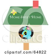Royalty Free RF Clipart Illustration Of A Cute Blue Bird In Its Home by bpearth