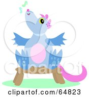Royalty Free RF Clipart Illustration Of A Singing Dragon Sitting On A Stool by bpearth