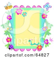 Border Frame Of Flowers And Bugs