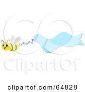 Royalty Free RF Clipart Illustration Of A Bee Flying With A Wavy Blue Banner