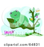 Happy Green Frog On A Plant Leaf With A Bee And Caterpillar