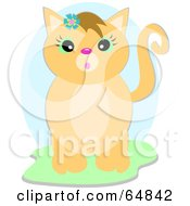 Royalty Free RF Clipart Illustration Of A Surprised Beige Kitty Cat Wearing A Blue Flower by bpearth