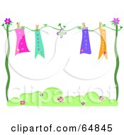 Royalty Free RF Clipart Illustration Of Love Peace Trust And Respect Banners Drying On A Line by bpearth