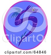 Royalty Free RF Clipart Illustration Of A Blue Snake Like Dragon In An Oval by bpearth