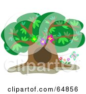Royalty Free RF Clipart Illustration Of A Mature Tree With A Big Hole And Flowers by bpearth