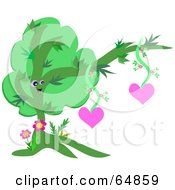 Royalty Free RF Clipart Illustration Of A Happy Tree Hanging Hearts by bpearth